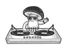 Cartoon Mushroom DJ Sketch Engraving Vector Illustration. T-shirt Apparel Print Design. Scratch Board Style Imitation. Black And White Hand Drawn Image.