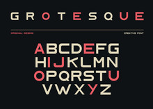 Latin Alphabet, Sans Serif Font In Grotesk Retro Style. Abc Uppercase Letters On Black Background, Typeface For Posters And Banners Typography. Duotone Elements, Signs, Symbols. Vector Illustration