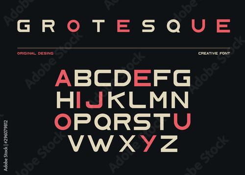 Photo Latin alphabet, sans serif font in grotesk retro style