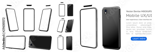 Photo Set 3d smartphone mockup with a white background