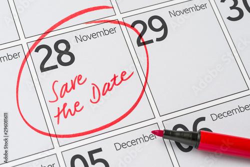 Papel de parede  Save the Date written on a calendar - November 28