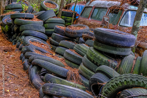 Fotografie, Tablou  A Pile of Old Tires in the Woods of a Junkyard