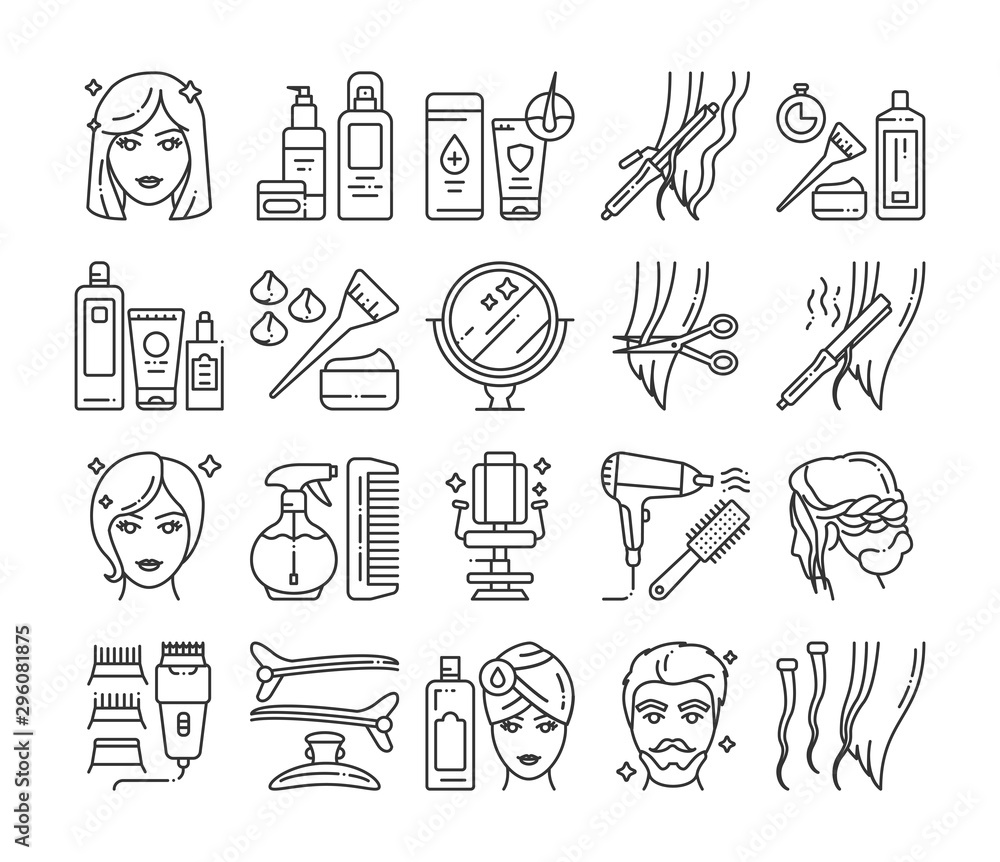 Fototapeta Hairdresser service line icons set. Professional hair styling. Beauty industry. Pictograms for web page, mobile app, promo.