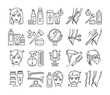 Hairdresser service line icons set. Professional hair styling. Beauty industry. Pictograms for web page, mobile app, promo.