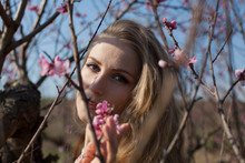 Woman Blonde Walks In Pink Flowering Garden