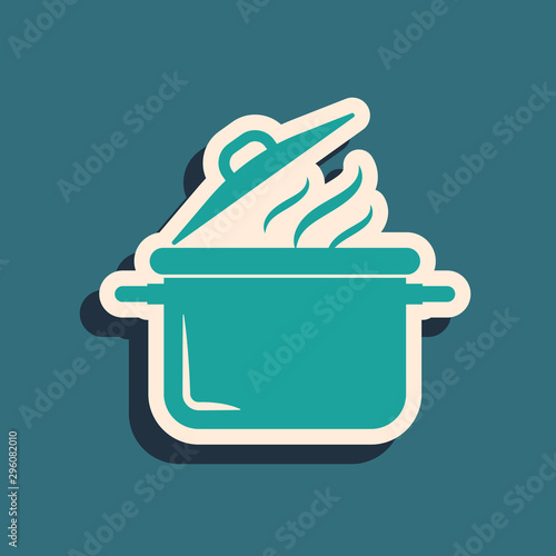 Green Cooking pot icon isolated on blue background Canvas-taulu