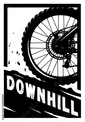 Downhill, Mountain bike banner, t-shirt print design Canvas Print
