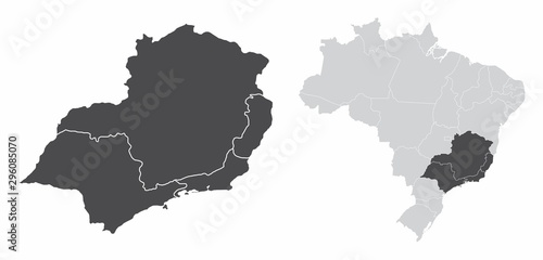 The Southeast Region map and its location in Brazil Wallpaper Mural