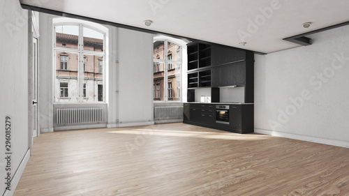 Foto auf Gartenposter Dunkelgrau Scandinavian kitchen empty apartment interior without furniture with large wall and landscape in window. Home nordic interior. 3D illustration