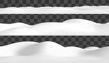 Realistic snow hills landscape. Vector snowdrift illustration. Winter background.