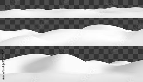 Fototapeta Realistic snow hills landscape. Vector snowdrift illustration. Winter background. obraz