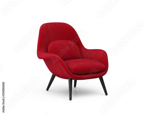 Photo 3d rendering of an Isolated red modern lounge armchair