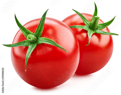 Tomato vegetables isolated on white. Two tomato fruit Clipping Path. Tomato macro photo