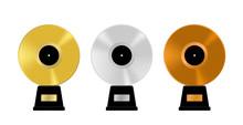 Music Awards Set. Golden, Silver Bronze And Platinum Vinyl Records. Old Vintage Music Vector Illustration.