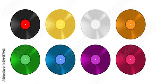 Fotomural Colored vinyl record set. Old vintage music vector illustration.