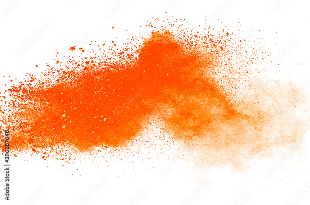 Fototapety, obrazy: Abstract orange powder explosion isolated on white background.