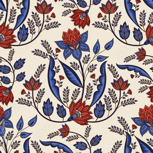 Indian floral paisley pattern vector seamless border Tablou Canvas