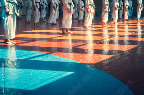 Kids training on karate-do. Young athletes in traditionally white kimonos with colored belts. Banner with space for text. Retro style. For web pages or advertising printing. Photo without faces.
