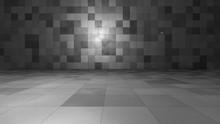 Empty Windowless Interior. 3D ...