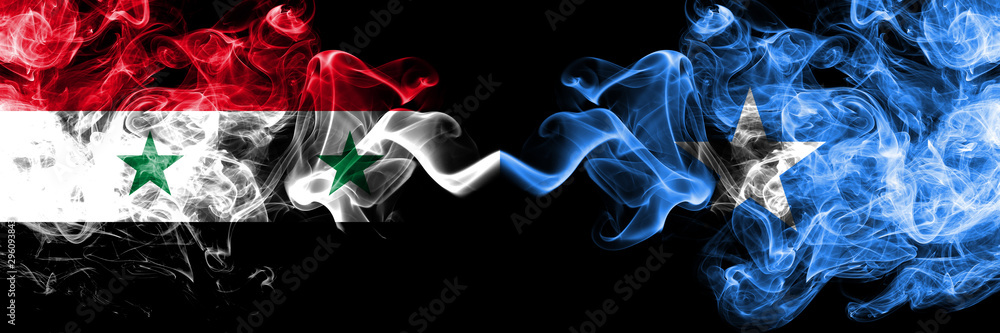 Fototapety, obrazy: Syria vs Somalia, Somalian smoke flags placed side by side. Thick colored silky smoke flags of Syrian and Somalia, Somalian