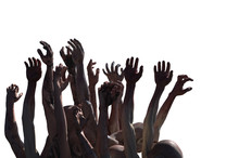 Crowd Of Stretched Zombie Hands Halloween Theme, Render 3D On White Background