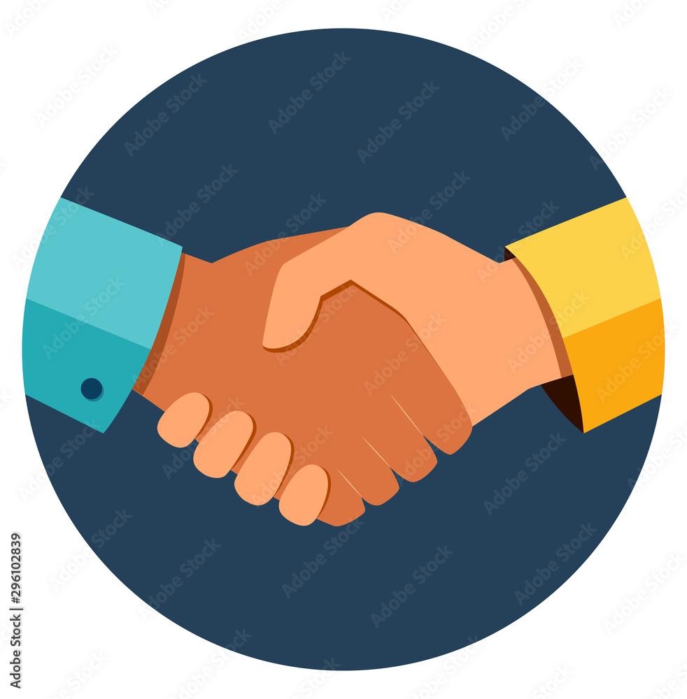 Fototapeta Circle business handshake icon. Handshake of business partners. Business handshake. Successful deal. Vector flat style illustration