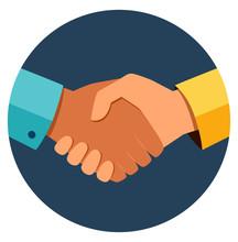 Circle Business Handshake Icon...
