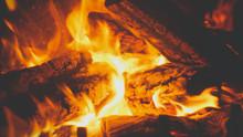 Closeup Toned Image Of Fire Fl...