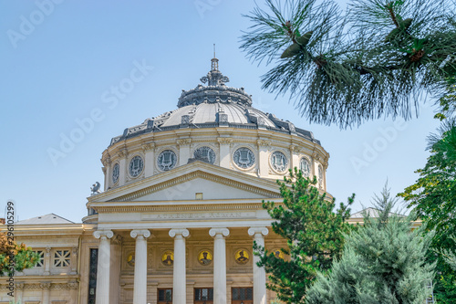 Romanian Athenaeum, a concert hall in the center of Bucharest, Romania and a landmark of the Romanian capital city Wallpaper Mural