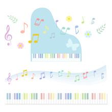 ピアノ 音符 鍵盤 セット / Vector Eps