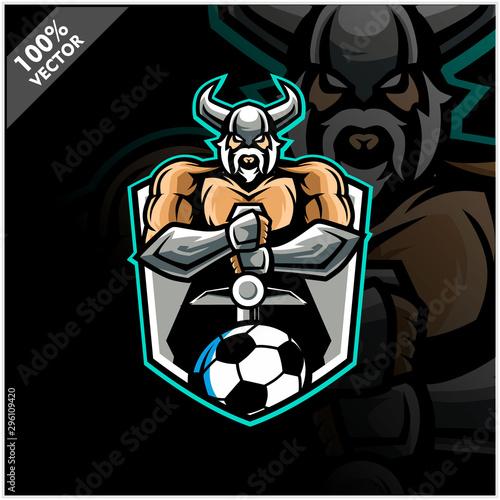 Vector sport logo, Viking illustration and football soccer on shield background Slika na platnu