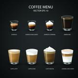 set of coffee cups, espresso glass, coffee latte, cappuccino, mocha, americano,caramel macchiato,vector design.