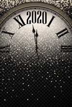 Gold Shiny 2020 New Year Background With Clock.