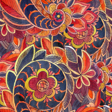 Seamless Pattern With Multicolor Paisley Print