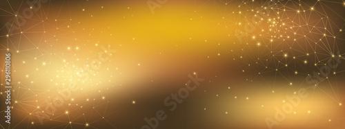 Fotografía  Gold Technology Abstract. Big Data 3d. Glow Grid