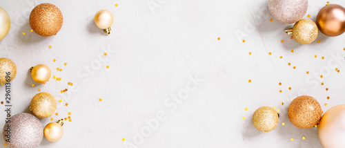 Christmas festive banner with golden christmas decoranion