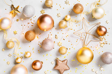 Christmas Festive Pattern With Golden Christmas Decoranion And Lights