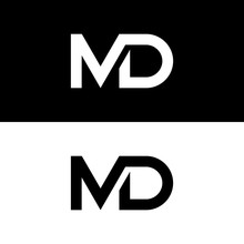 Black And White Letter M And D Logo Design Vector Logo Concept