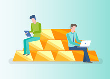 Investors With Laptop And Tablet Vector, Investing People Sitting On Gold Bars Isolated Man Reading Info On Tablet. Digital Control Of Savings Flat Style