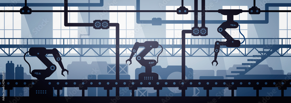 Fototapety, obrazy: Vector illustration of seamless factory line manufacturing industrial interior background. Silhouette of industry 4.0 zone template.