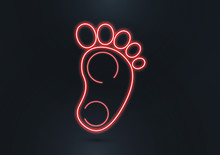 Newborn Baby Footprint Icon. Isolated Silhouette Of A Children's Foot, Neon Lines On A Dark Background. Element For Your Design.