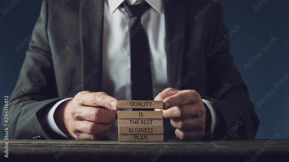 Fototapeta Quality is the best business plan sign