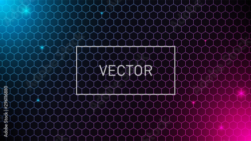 Hexagonal grid background with pink and blue glows Fototapet