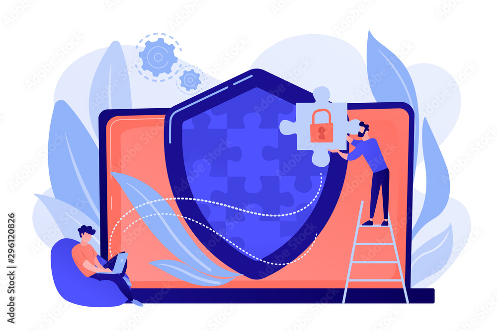 Fototapeta Programmer with jigsaw shield system monitoring network traffic. Firewall, network security system and network firewall concept on white background. Pinkish coral bluevector isolated illustration