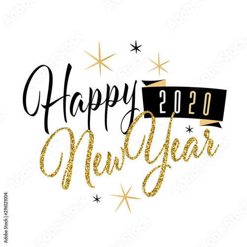 Cuadros en Lienzo Happy new year 2020 with glitter