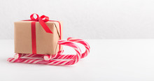 Creative Winter Sleigh Of Gift Box And Candy Canes