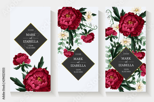 Cuadros en Lienzo Wedding invitation with burgundy . peonies. Vector.