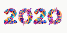 New Year 2020 Colorful Doodle Letter Typography
