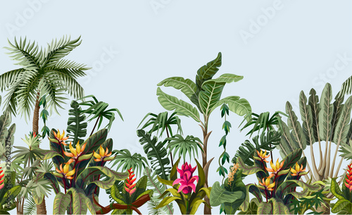 Fotografía Seamless border with jungle trees and flowers. Vector.