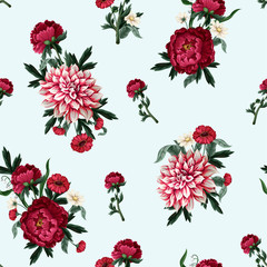 Panel Szklany Podświetlane Peonie Seamless pattern with dahlia, peonies and wild flowers. Vector.